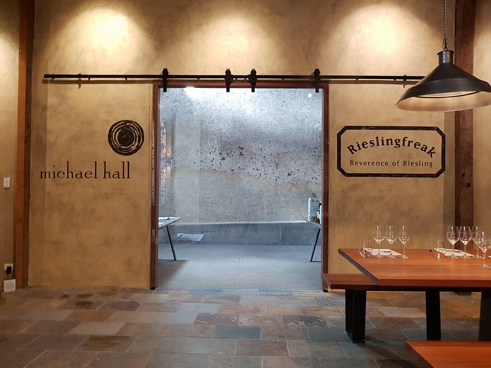 Conté pastel logos in Michael Hall and Rieslingfreak's Barossa Valley Cellar Door