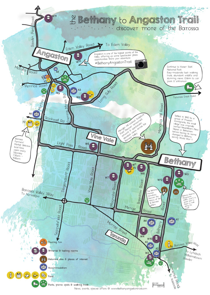 Bethany to Angaston Trail self-guided touring map of Barossa Valley region
