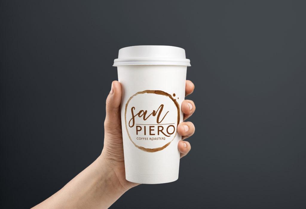 San Piero Coffee Roasters logo on takeaway cup
