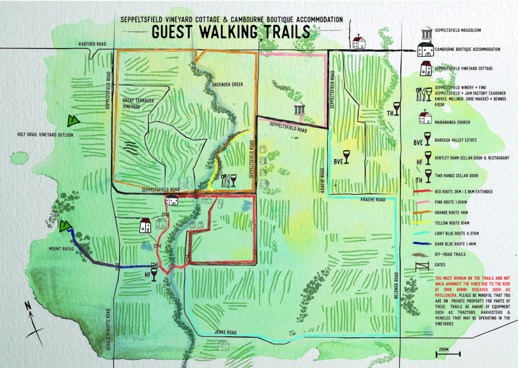 Illustrative walking trails map of western Barossa