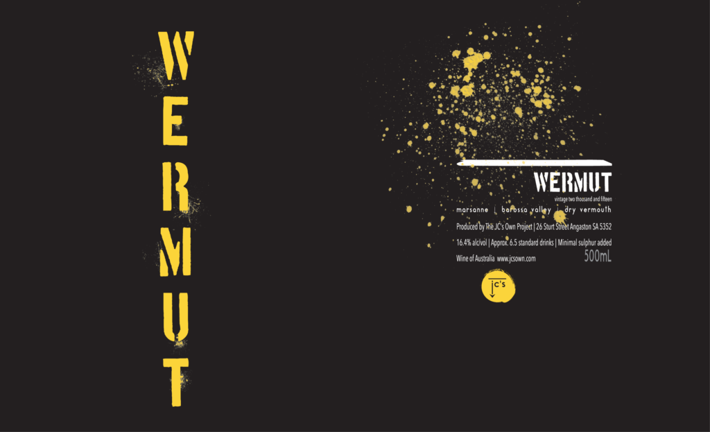 Wermut glass print label design